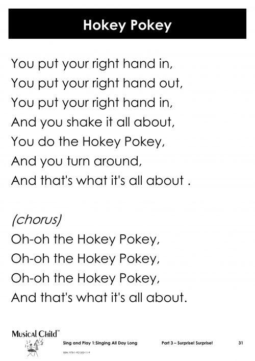 Hokey Pokey lyric chart kids music